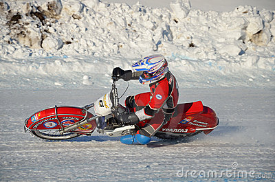 Speedway on ice, turn on a motorcycle Editorial Stock Photo