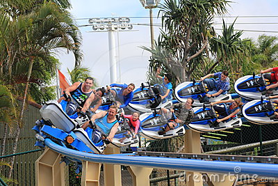 Speeding roller coaster ride Jet Rescue Editorial Stock Image