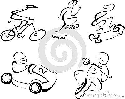 Speedy sport vector linear monochrome illustration