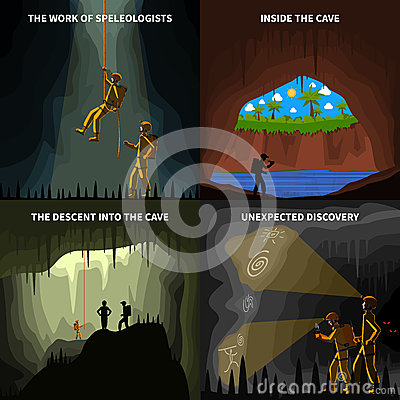 Free Speleologists 4 Flat Icons Square Banner Stock Image - 67064651