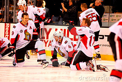 Spezza, Phillips and Alfredsson Ottawa (NHL) Editorial Photo