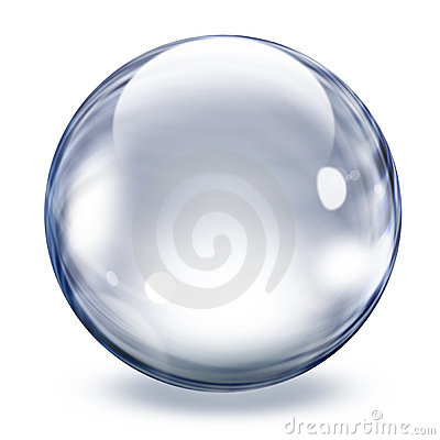 Sphère en verre transparente