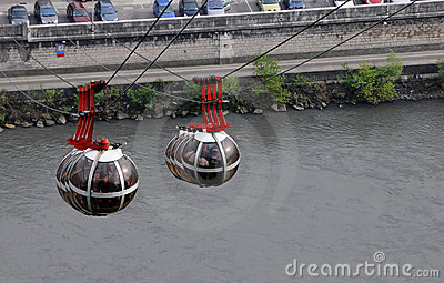 Sphere cable cars over the river Isère