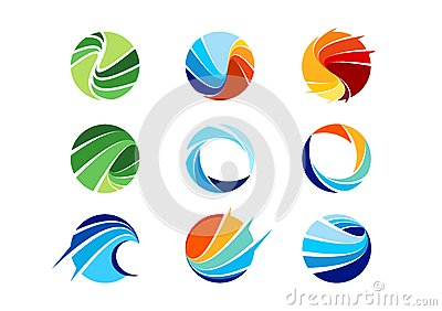 sphere,circle,logo,global,abstract,business,company,corporation,infinity,Set of round icon symbol vector design Vector Illustration