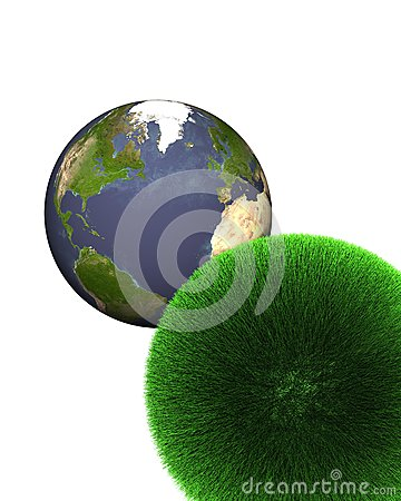 Sphere of grass with earth