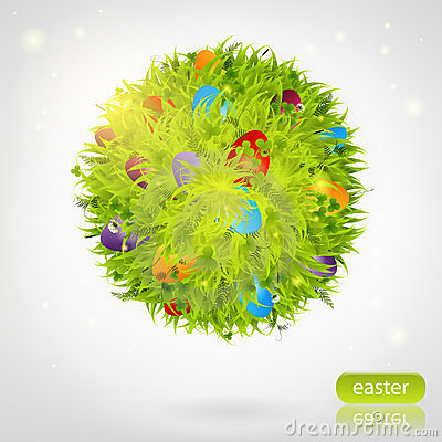 Sphere made of grass with easter eggs