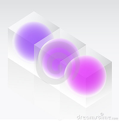 Spheres in glass cubes