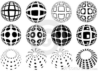 Spheres with grid pattern
