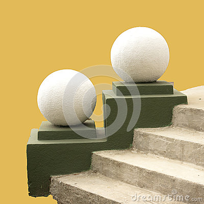 Spheres and steps.