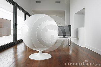 Spherical armchair and living room.
