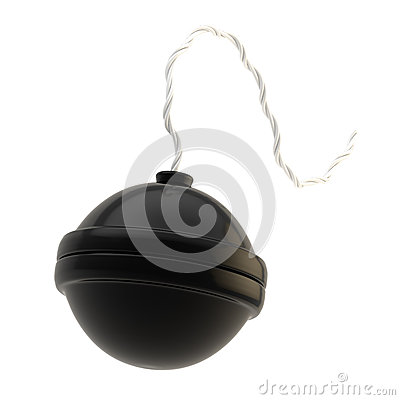 Spherical bomb isolated on white