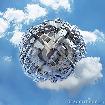 Spherical city world in clouds