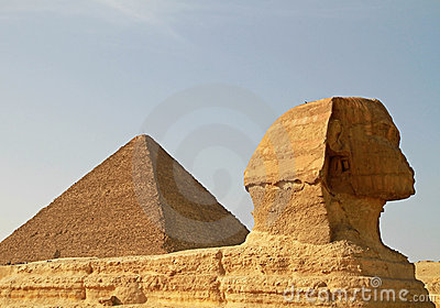 Sphinx and Cheops pyramid