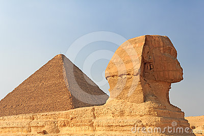 Sphinx and the Pyramid of Cheops at Giza