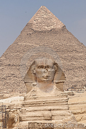 The Sphinx and the  Pyramid of Khafre.