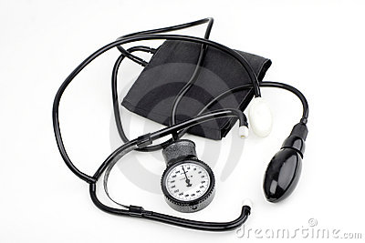 Sphygmomanometer for blood pressure on white