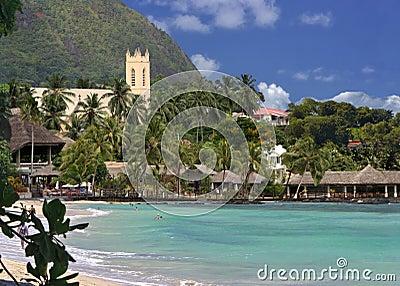 Spiaggia tropicale, centro balneare.