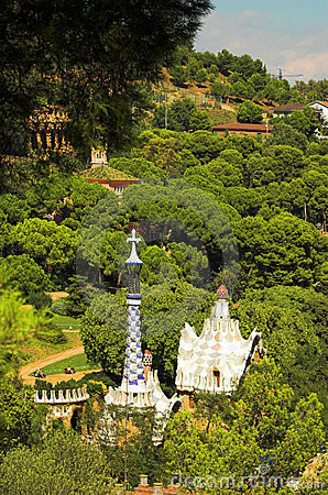 Free Spice-cake Houses In Park Guell By Antoni Gaudi Royalty Free Stock Images - 1928509