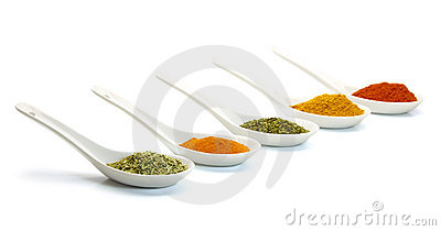 Spice in ceramic spoon