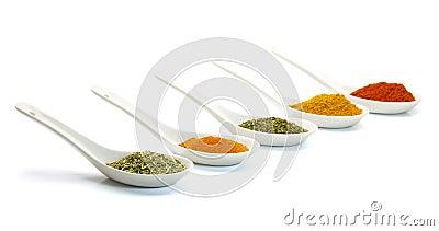Spice in ceramic spoon