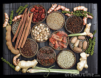Spice collection on black background