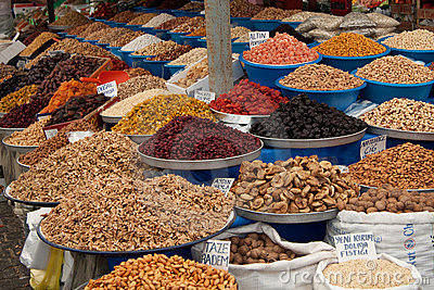 Spice fruits dried nuts almonds figs market market