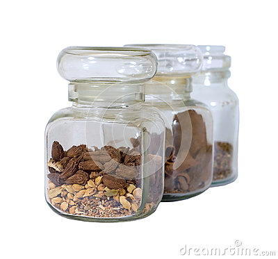 Spice jars isolated