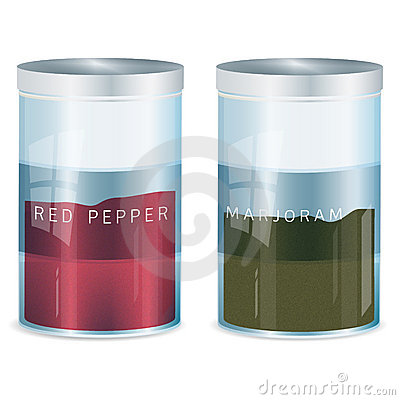Spice - red pepper and marjoram-vector added