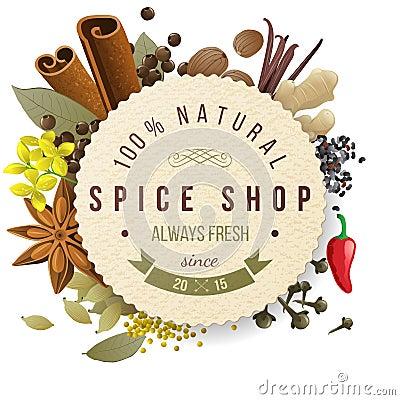 Free Spice Shop Emblem Royalty Free Stock Images - 47046549