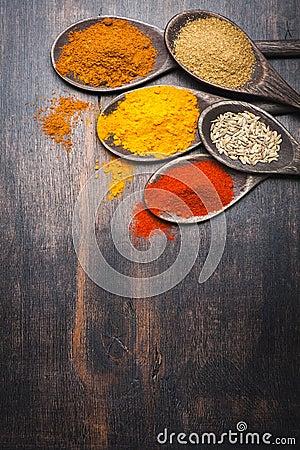 Spice Turmeric, paprika, coriander, masala. Spices