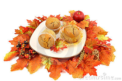 Spiced Pumpkin Muffins With Fall Leaves