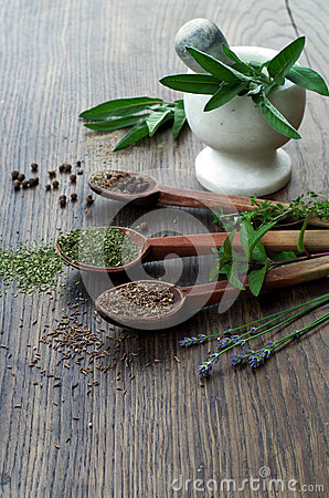 Free Spices And Dried Herbs On Wooden Spoons, Fresh Herbs With Mortar And Pestle On Wooden Background Stock Images - 55550814