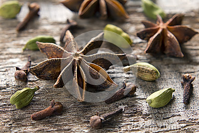 Spices. Anise stars, cloves and cardamom