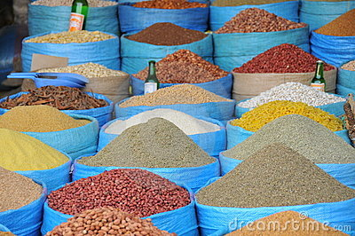 Spices and beans market in Morocco