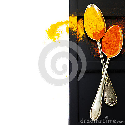 Spices Border. On White Stock Images - Image: 28584714