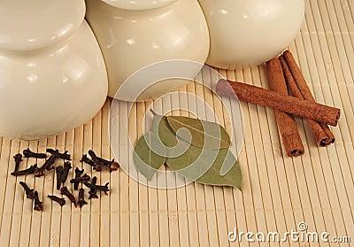Spices - cinnamon, pimento and  laurels