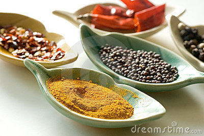 Spices in fancy leaf shaped bowls-2