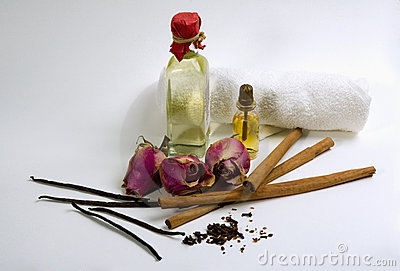 Spices, flowers, aromatherapy oil