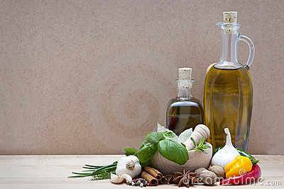 Spices, herbs and olive oil