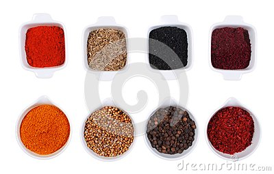 Spices  isolated in white