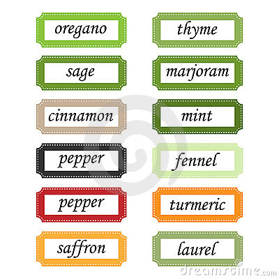 Spices labels