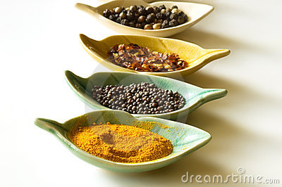 Spices in leaf shaped fancy bowls