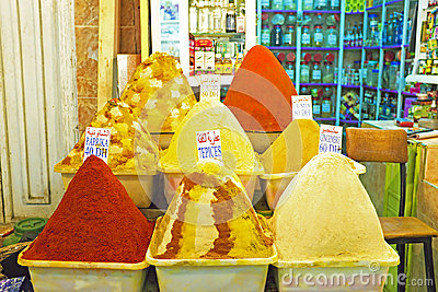 Spices at the market of Marrakesh, Morocco Editorial Photo