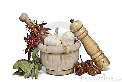 Spices and a mortar grinder.