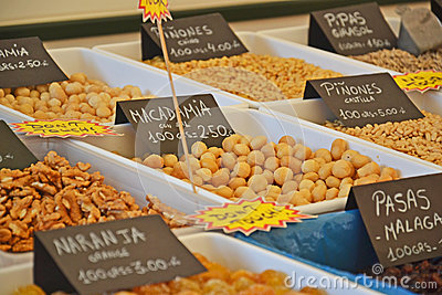 Spices and nuts in food market