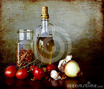 Spices, olive oil, tomatoes, dry peppers