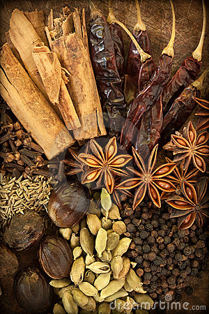 Free Spices On Wood Royalty Free Stock Photo - 21899185