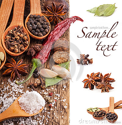 Free Spices On Wooden Table Royalty Free Stock Image - 28101496