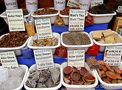 Spices and other items on the market, Morocco