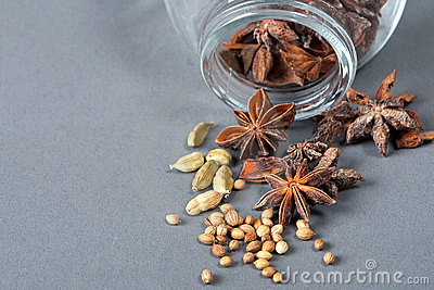 Spices, star anise, cardamom and coriander.